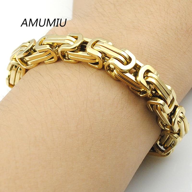AMUMIU muške narukvice zlatna boja lančana veza narukvica od - Modni nakit
