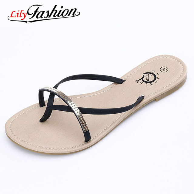 b8a66d8169a0 2017 New T-Strap women flip flops Beach sandals fashion Bling slippers  summer women flats shoes woman flat sandals AF69