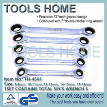 8-19mm 5pcs/set Quick Reversible Combination Ratchet Wrench Set Metal Ratcheting Socket spanners auto repair hand Home tools