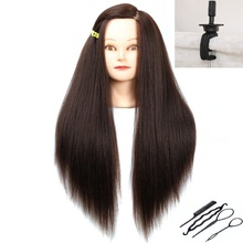 Brown Hair Mannequins Thick Wig Heads For Hairdressing Styling Training Head Cosmetology Doll