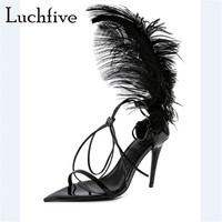 Feather lace up thin high heels women sandals open toe black shoes woman sexy gladiator stiletto fashion sandals mujer