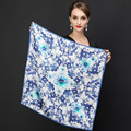 Hot Sale Brand Flowers Pattern Silk Scarves Wraps For Women 2016 Fashion Natural Pure Silk Shawl Square Mulberry Silk Scarf