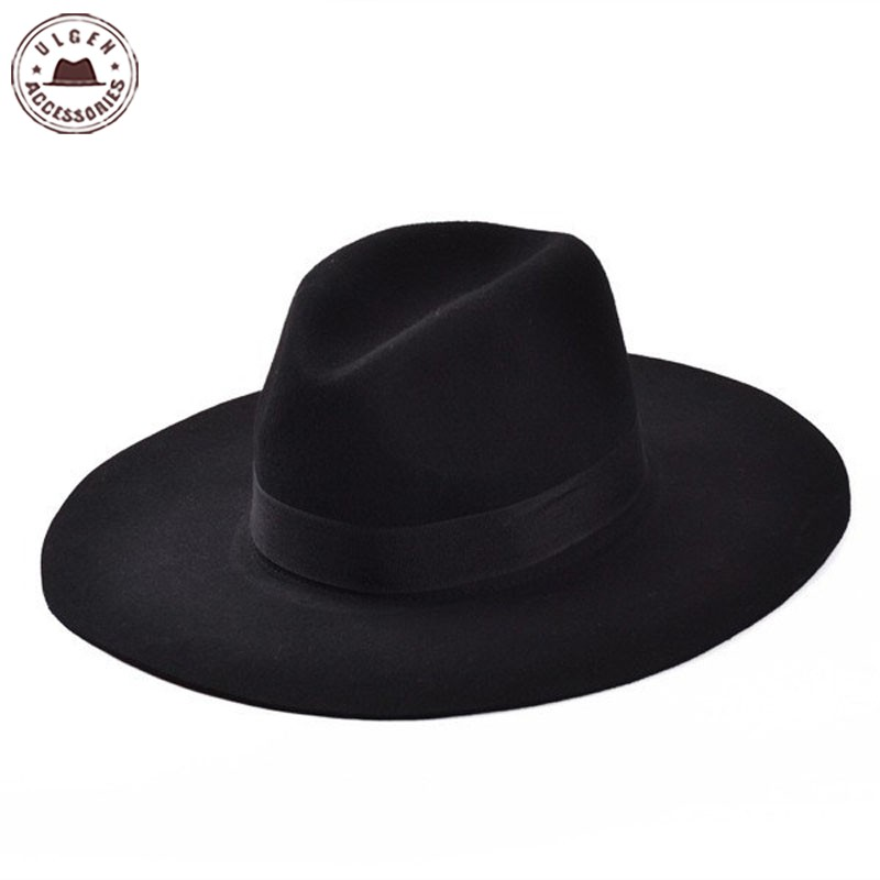 Spring and Autumn Flat Brimmed Fedora Hat Classic Large Brim Wool Church Hats for Women Men Floppy Top Hat image