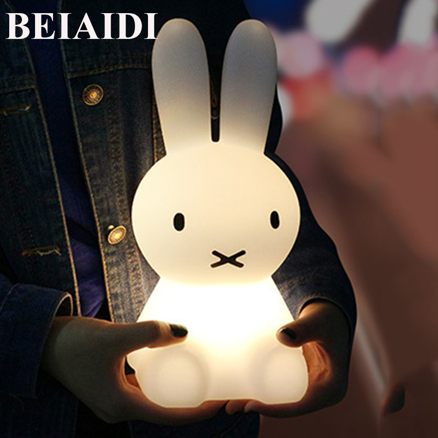 BEIAIDI 7 Color USB Rechargeable Rabbit LED Night Light Dimmable Cartoon Atmosphere Gift Lamp With Remote Light For Baby Room thrisdar 28cm usb rechargeable novelty rabbit led night light cartoon rabbit atmosphere desk table light baby kids toy s light