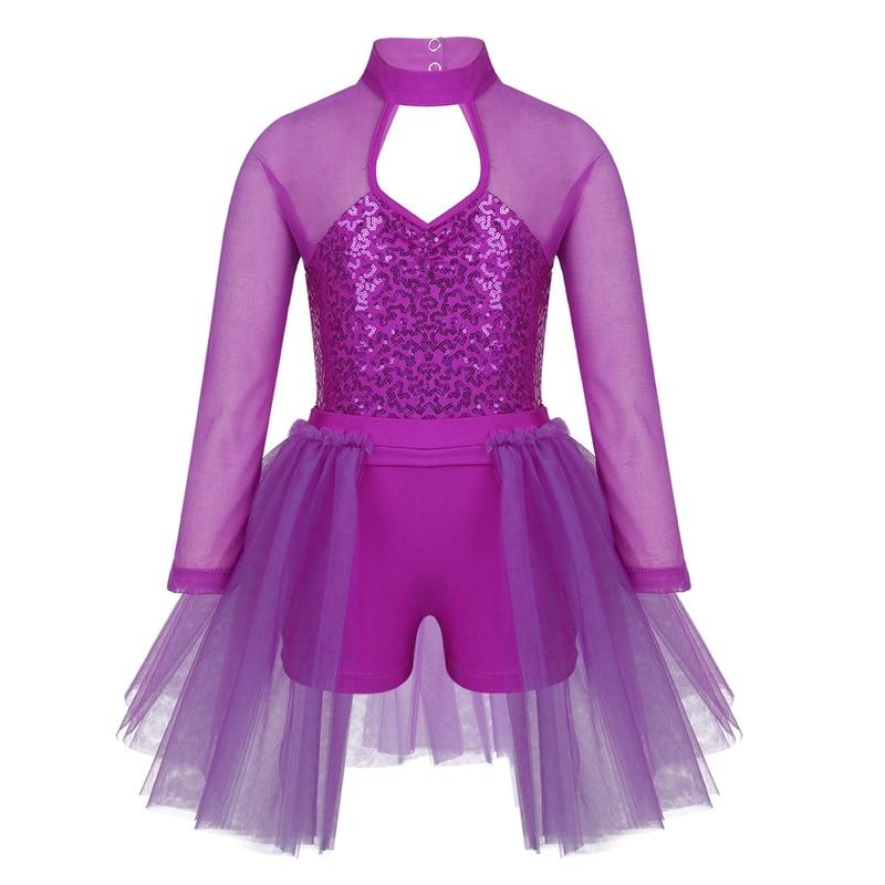 Image 4 - Kids Teens Sequins Stage Performance Lyrical Dance Costumes Children Girls Figure Skating Ballet Tutu Leotard Mesh DressBallet   -