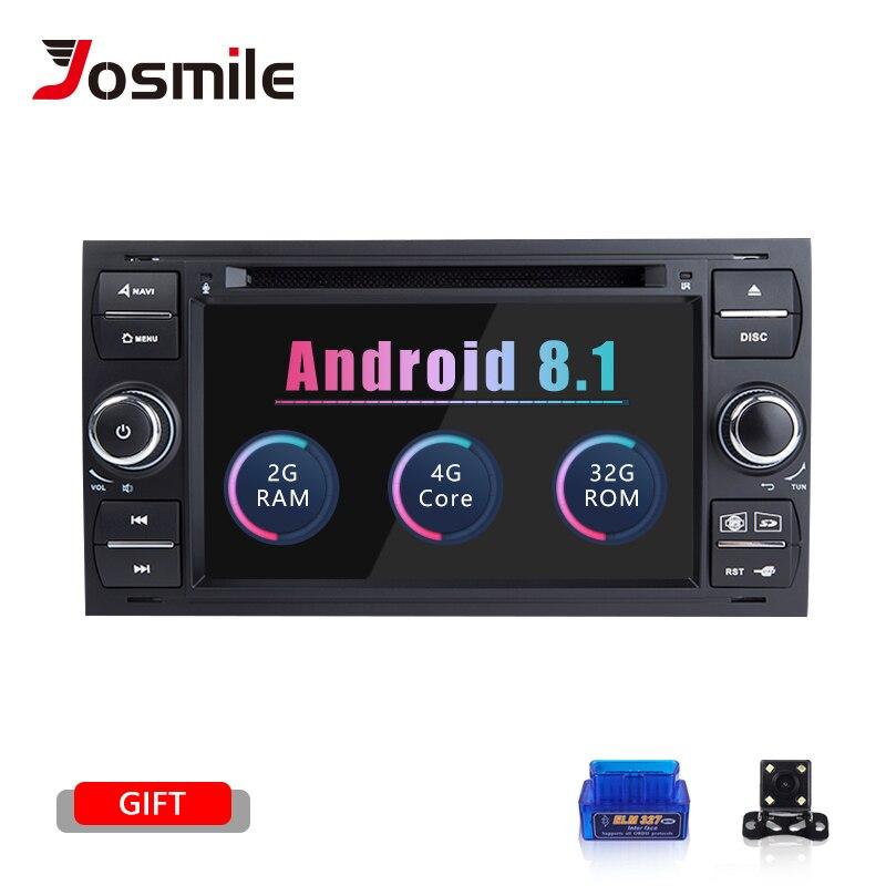 Android 8.1 din 2 Rádio Do Carro GPS DVD Para Ford Focus Ford Fiesta Mondeo 2 4 C-Max S -Max Fusão Trânsito Kuga Navegação Multimídia