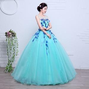 Image 4 - 100% Real Photo Fashion Organza Colored Wedding Dresses 2020 Spring Blue princess For Paty Studio Photo Vestido De Noiva Gown