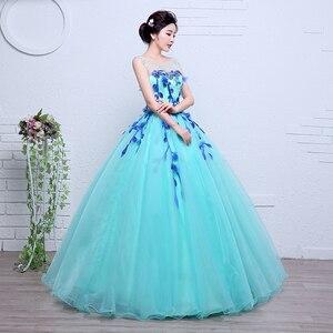 Image 4 - Robes De mariée colorées dorganza, robes De princesse bleue printemps, pour Studio Photo Paty, robe De mariée, modèle 100%