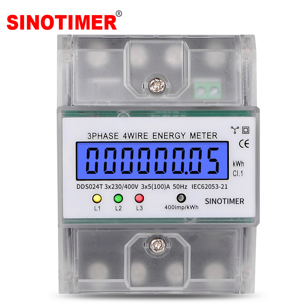 Din Rail 380V 100A 3 Phase 4 Wire Electronic Watt Power Energy Meter Wattmeter KWh LCD Backlight Display With Transparent Cover