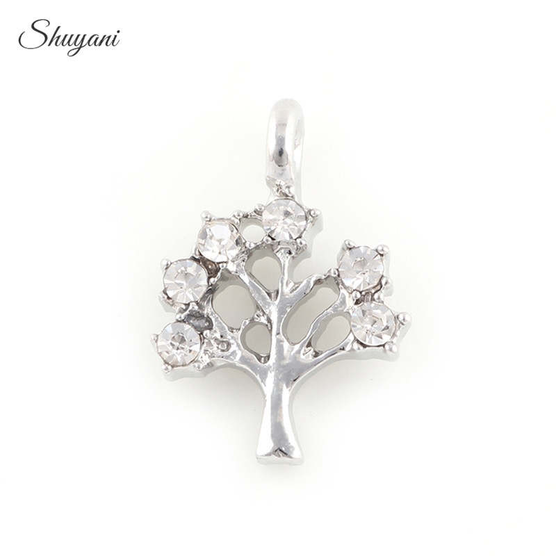 d4e8131d4 20PCS Alloy Silver/Gold Plates Life Tree Charms Rhinestone Crystal Tree  Charms Pendants fit Bracelet Necklace Jewelry 15*10mm