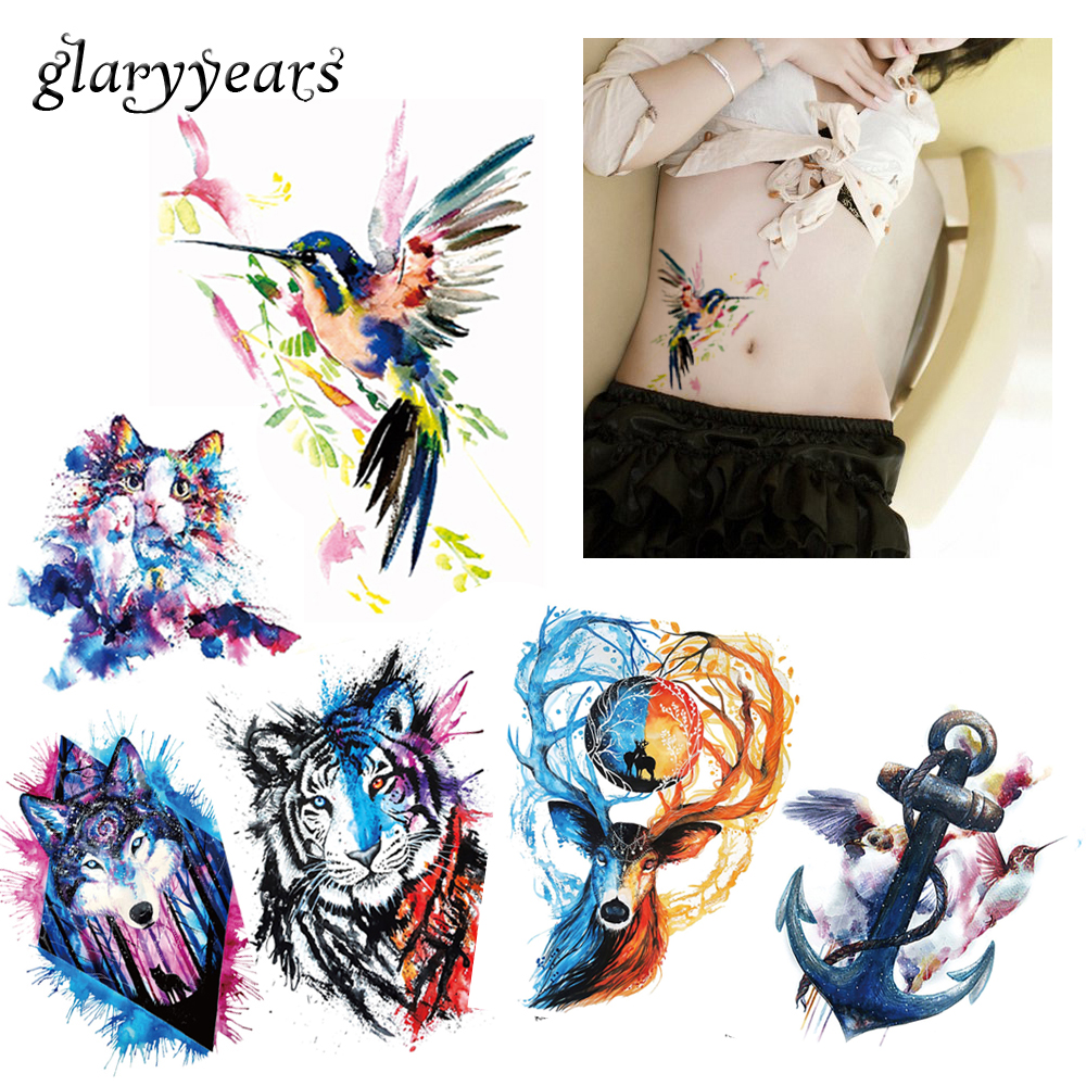 e03b5b6b151f7 6 Pieces / Set New Body Tattoos for Back Leg Waist Watercolor Animals  Colored Drawing Wolf Cat Body Art Temporary Tattoo Sticker