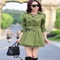 Осенью 2016 Элегантный Траншеи Пальто Для Женщин Мода Лук Верхняя Одежда Длинный Тонкий Двойной Грудью Пальто 6 Цветов C8076