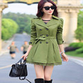 Otoño 2016 Elegante Trench Coats For Women Fashion Arco prendas de Vestir Exteriores Larga Delgada de Doble Botonadura Abrigos 6 Colores C8076