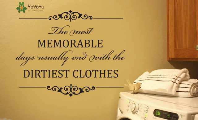 Removable wall decal laundry room vinyl wall sticker quote memorable days end with dirtiest clothes fashion