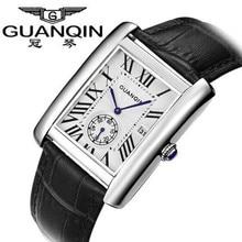 Marca GUANQIN Hombres Reloj Cuadrado Reloj de Cuarzo Resistente Al Agua Ultra-delgado Hombre de Negocios Relojes de Pulsera Correa de Cuero Genuino Informal