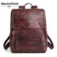 Винтаж повседневное 15 ноутбук рюкзак мужской рюкзак для ноутбука для мужской школы BagTravel из натуральной небольшой кожаный рюкзак Mochila