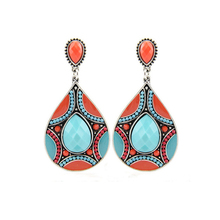 Brincos New Drop Earrings For Women Ethnic Vintage Silver Color Multicolor Bead Large Bohemia Dangle Statement Jewelry