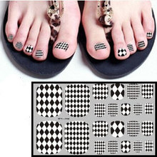 10pcs/lot Foot Nail Sticker- 2015 New Black&White Fashion Summer Toe Nails Art Sticker 3D Diamond Manicure Decal