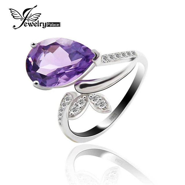 Delicate Natural Amethyst Ring    Pear Flower Luxury Stylish Fairy Charm Accessories     100% Real Pure 925 Sterling Silver Ring