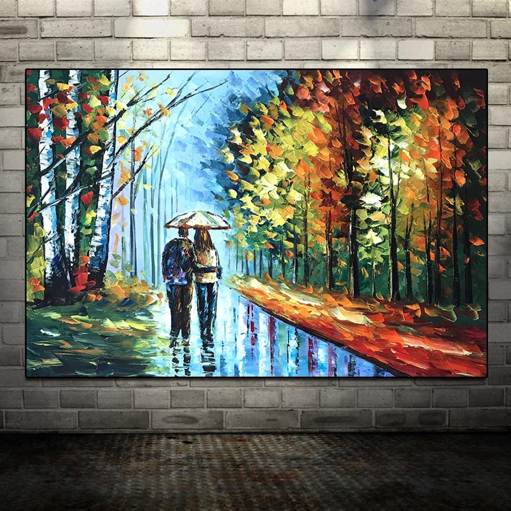 Большой расписанный вручную любовник дождь уличное дерево лампа пейзаж картина маслом на холсте настенные художественные настенные картины для гостиной домашний декор - Цвет: HY142224