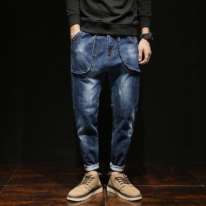 Marque De Mode Chaud Jeans Hommes 2017 Hiver Automne Nouveaux Jeans mâle Grande taille Fit Zipper Casual Denim Pantalon Effondrement Hip hop