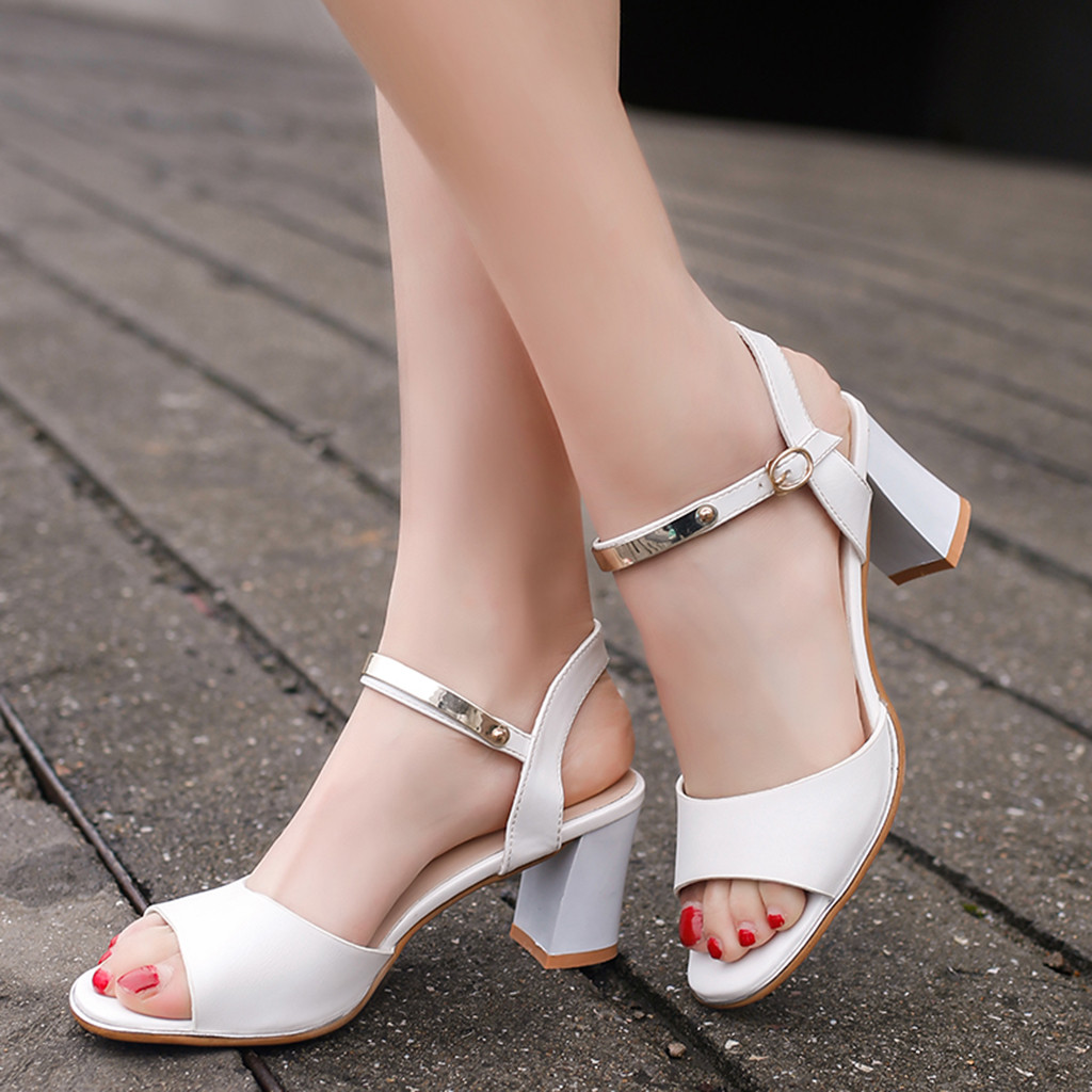 MUQGEW Fashion Casual Sandals for woman Solid Buckle Peep Toe High Heel Shoes white elegant Square Heel Sandals schoenen vrouw high heels