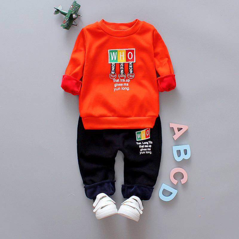 winter baby boy girl clothes 2017 new thicker warm cartoon letter clothing set jackets+pant 2 pcs for 0-4 years baby clothing cartoon boy girl design resin desktop decoration