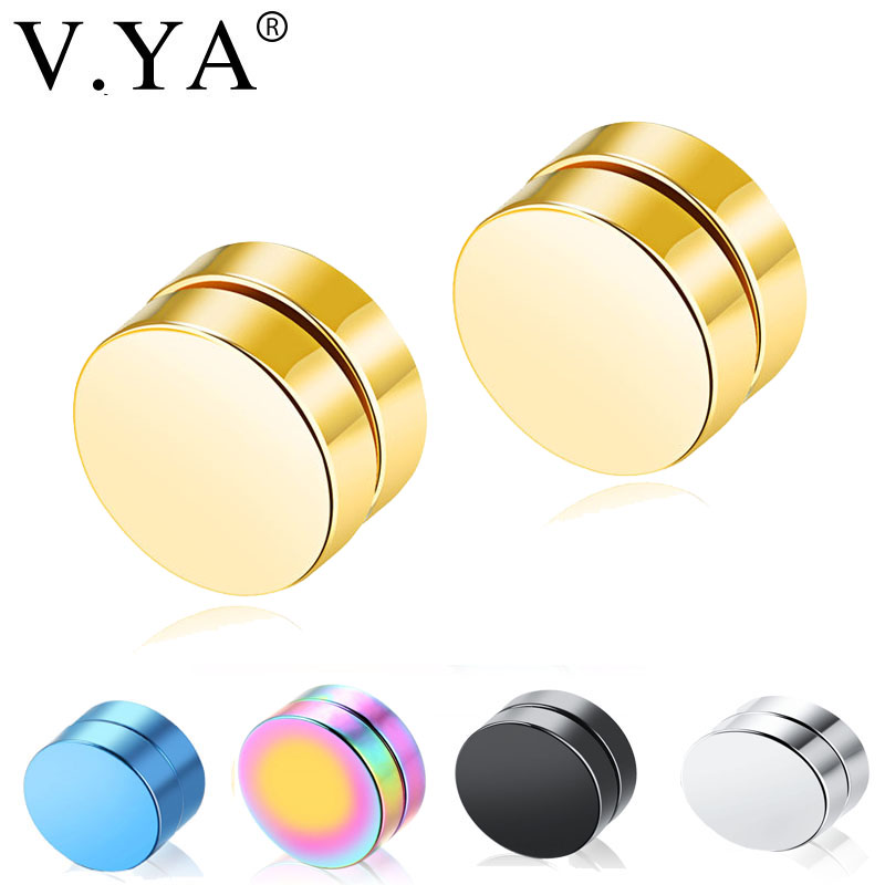 V.YA Magnet Magnetic Ear Stud Earrings for Men & Women Fashion Stainless Steel 1 Piece Non Piercing Unisex Fashion Fake Earrings