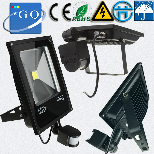 10W 20w 30w 50w 70w 100w led flood light AC85~265V DC12V black shell floodlights PIR Motion sensor Induction Sense lamp