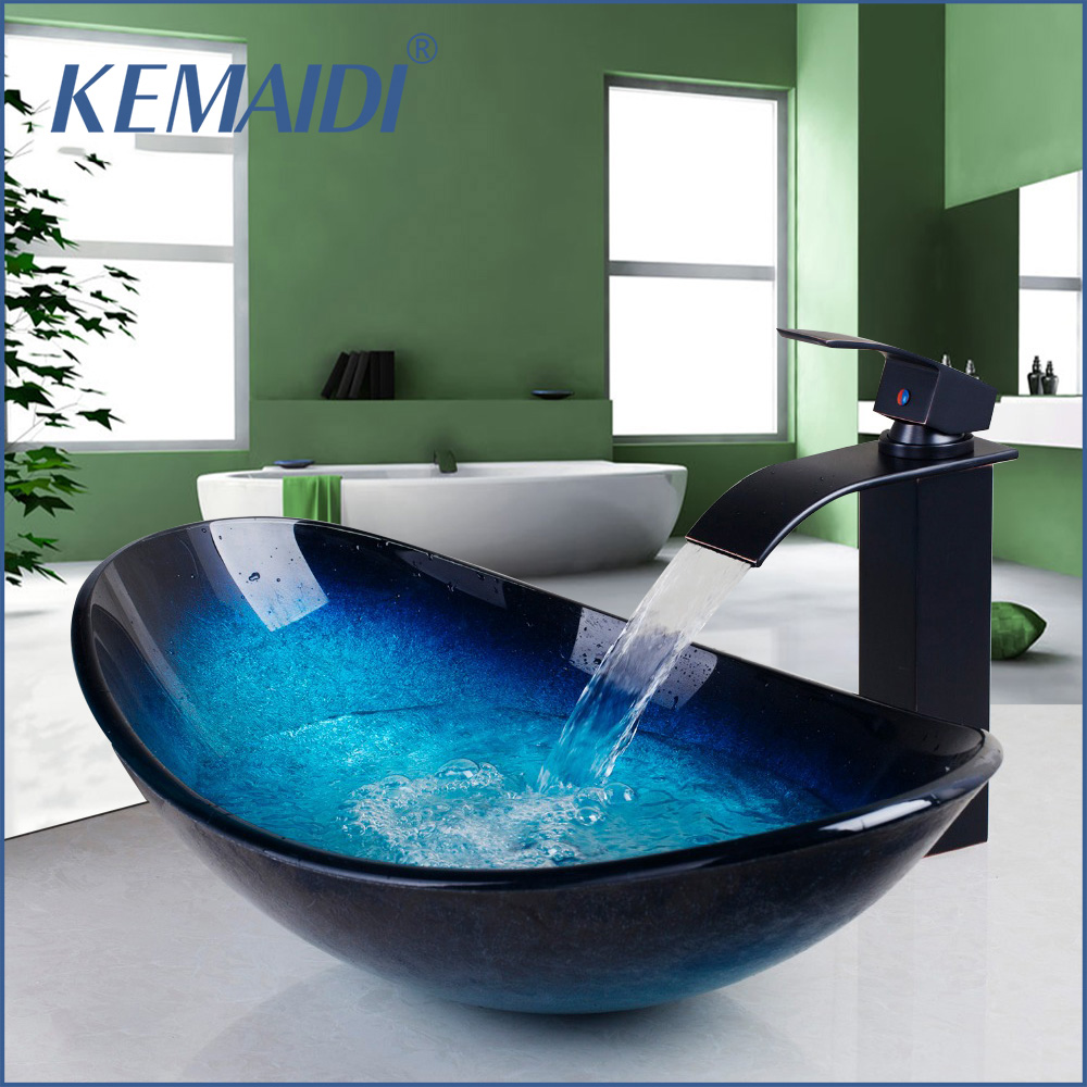 KEMAIDI Waterfall Spout Basin Black Tap Bathroom Sink Washbasin Tempered Glass Hand Painted Bath Brass Set