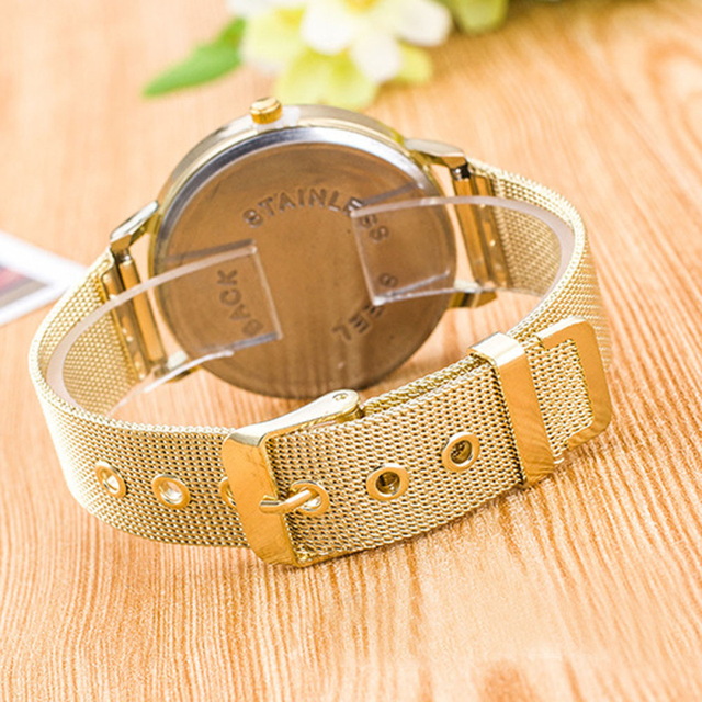 Fashion watch Women Stainless Steel Ladies gils Crystal Quartz Watch Dress Round Analog women watches Vogue relojes mujer 2016