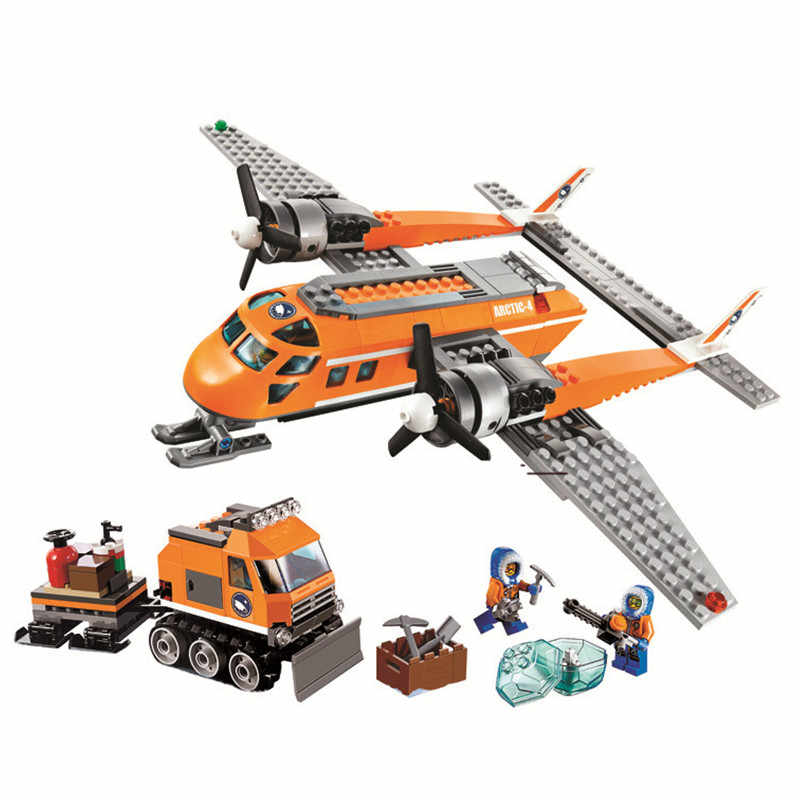 391pcs Legoings Snow Police Series Arctic Material Transport Aircraft Model Building Blocks Kit Toys Kids Gifts