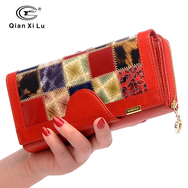 Qianxilu Brand 3 Fold Genuine Leather Womens