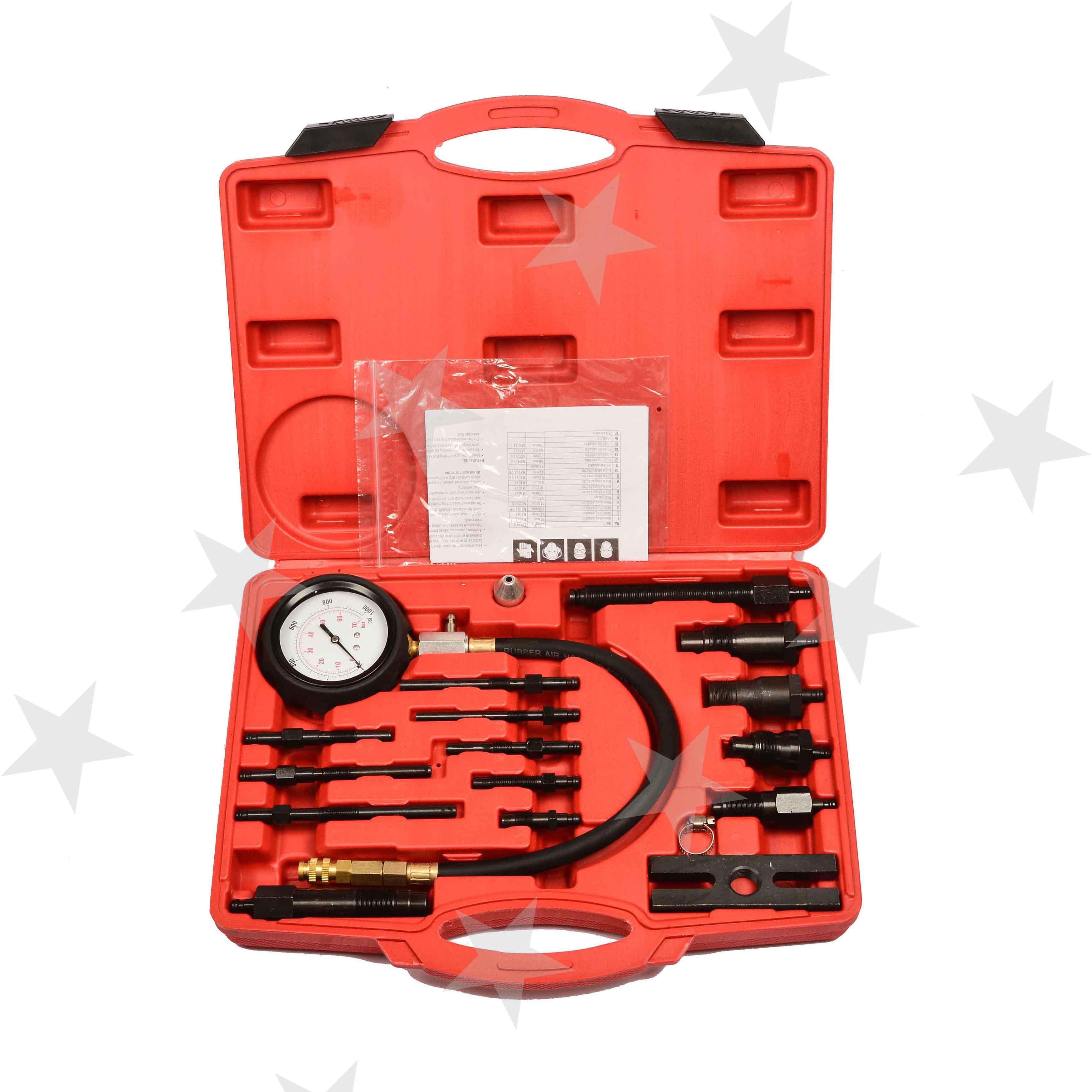 17pc Diesel Engine Compression Cylinder Pressure Tester Gauge Kit Set