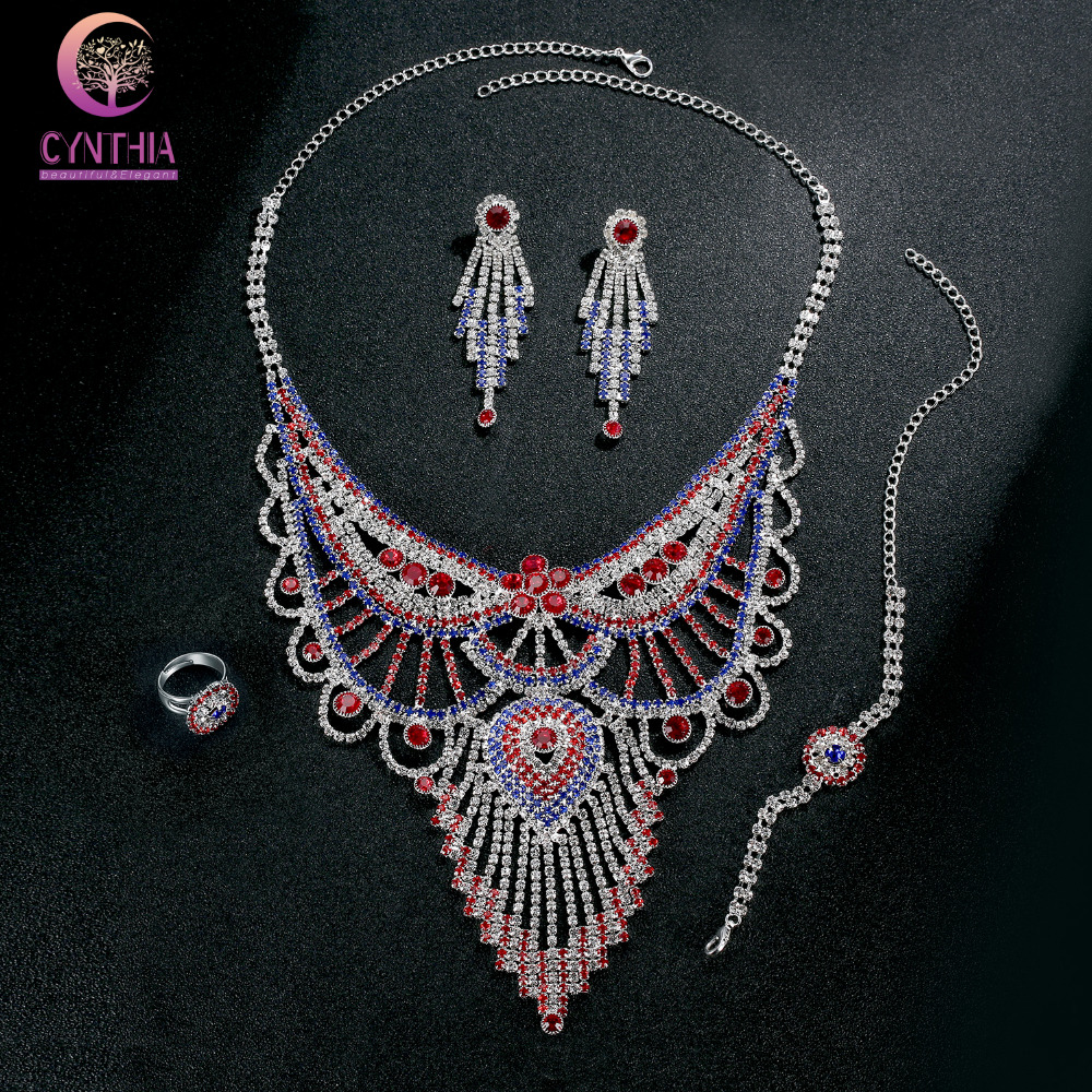 Maxi Necklace Luxury Collar Multi Layer Vintage Rhinestone Necklaces&Pendants Gipsy Style women Statement Necklace Earring Sets chran new fashion luxury vintage style jewellery multi layer string twist faux pearl choker necklaces&pendants gifts