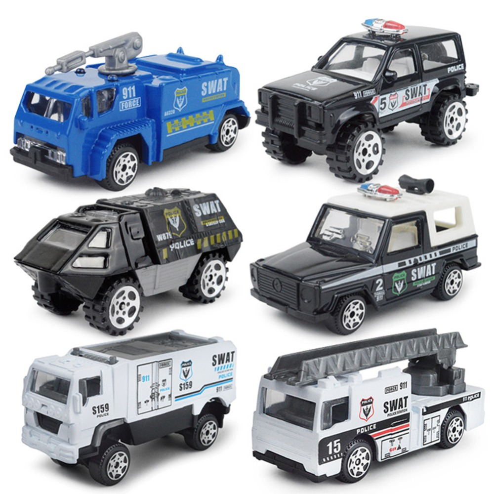 1:87 Mini Fire Military Special Police Alloy pull back Car Model diecast metal Children Pocket Toys collection Educational gifts
