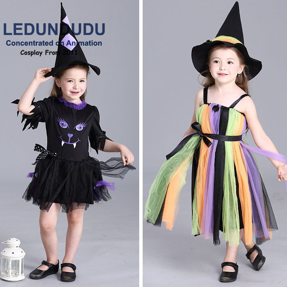 Hot Girls Goblin Witch Cosplay Costume Children's Halloween Christmas Party Rainbow Slip Dress Kids Fancy Clothes