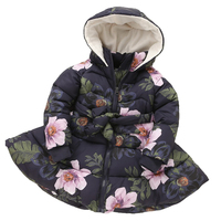 Winter Girls Hooded Jacket Printed Flowers Zipper Winter Coat For Girls Kids Padded Jacket Casual Children's Outerwear J03