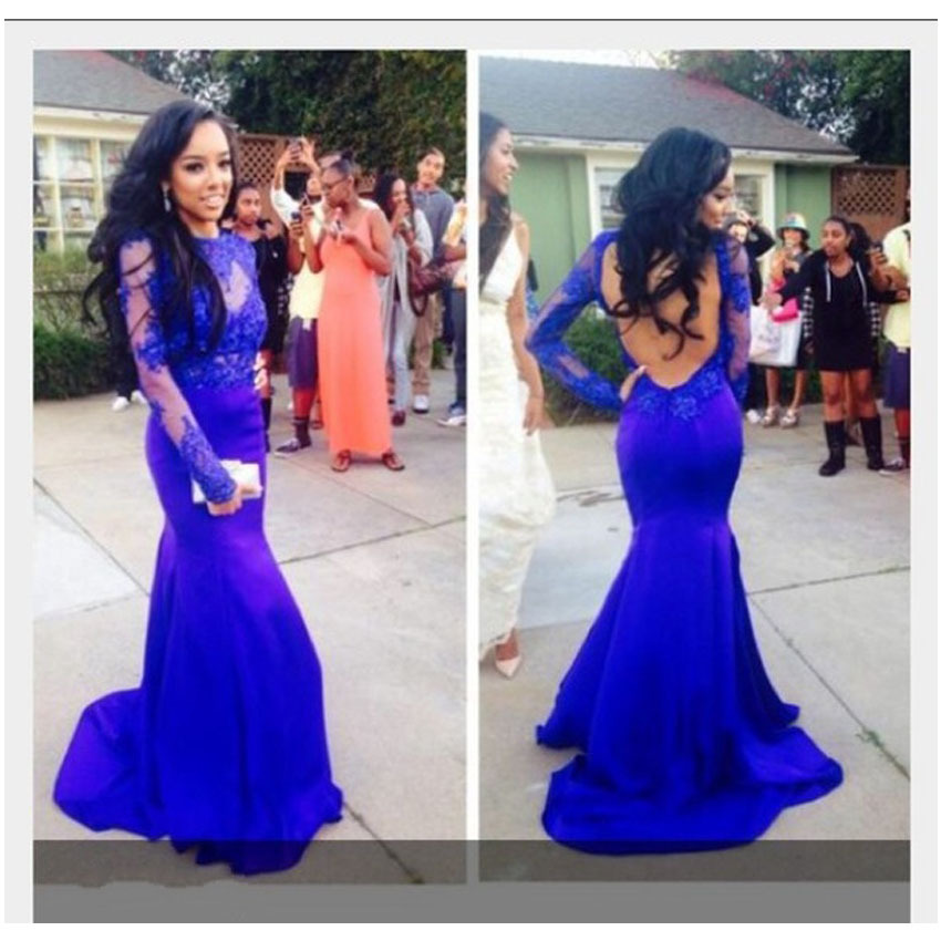 See Through Lace Appliqued Royal Blue Backless Long Sleeve Mermaid Evening Dress