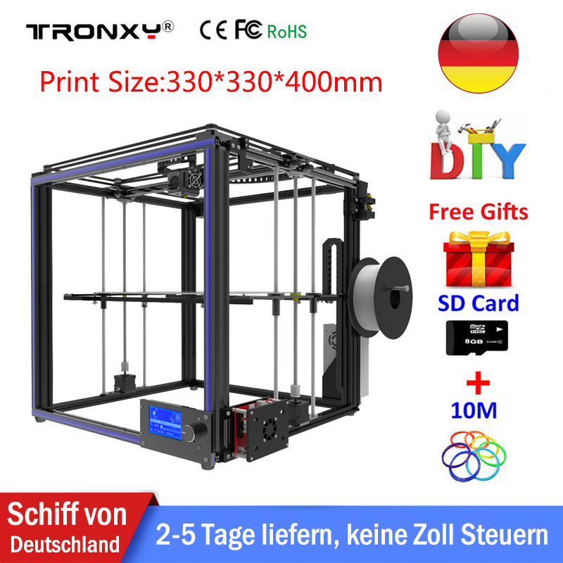 Tronxy 3D Printer DIY X5S I3 Plus Size Full Metal Frame Platform Desktop Industrial Grade High Precision 3d Printer Kit Filament все цены