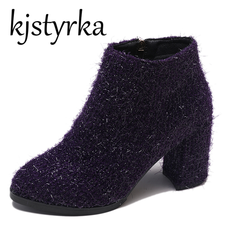 2019 Womens Shoes Ankle Boots Square High Heel Winter Chelsea Boots Sequin Fabric Pointed Toe bottine femme chaussure Purple