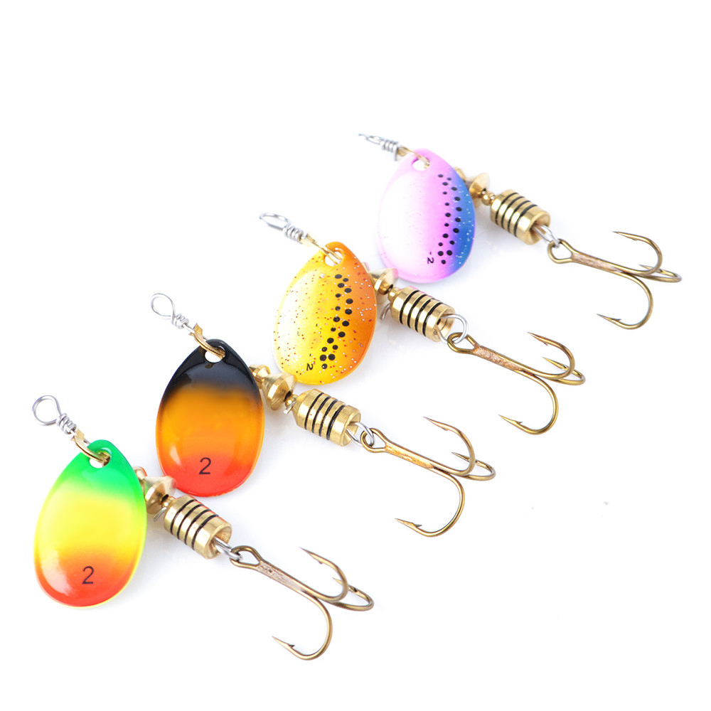 Spoon Spinner Fishing Lure 4PC Bass Metal Hard Lure With Treble Hooks For Carp Fishing Accessories Isca Artificial(China)