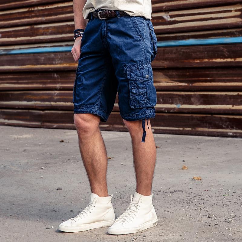 2018 Neue Modemarke Männer Military Cargo-shorts Neue Armee Multi Tasche Shorts Männer Baumwolle Lose Arbeiten Beiläufige Kurze Hosen Plus Größe Reine WeißE
