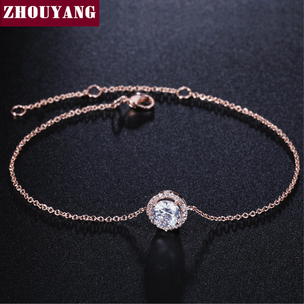 Round Micro Mosaic Cubic Zirconia Rose Gold Color Bracelet Jewelry