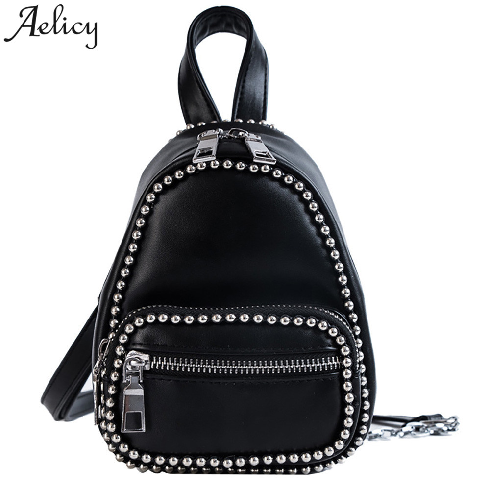 Aelicy bags women Girl PU Trend,College Backpack Lady Zipper Chain Slung Shoulder Bag With Little BallsAelicy bags women Girl PU Trend,College Backpack Lady Zipper Chain Slung Shoulder Bag With Little Balls