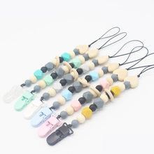 Silicone Pacifier Clip Chain Soother Wood Heart Dummy Clips Prendedor de Chupeta Nipple Holder Baby Feeding Teether fopspeen(China)