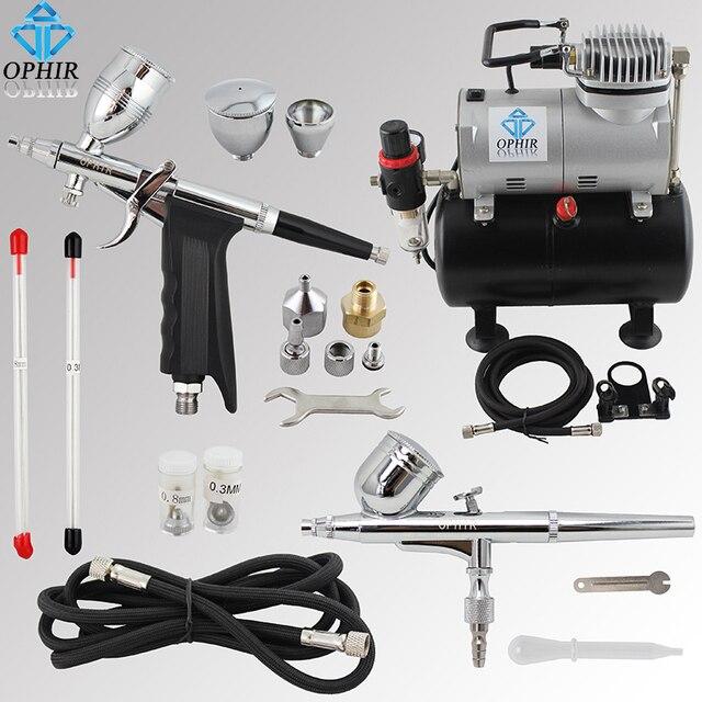 OPHIR 0.3mm 0.5mm 0.8mm Airbrush Gun Dual-Action Airbrush Kit Air Compressor Tank for Model Hobby Nail Art Paint _AC090+004A+069