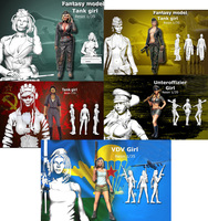 Assembly Unpainted Scale 1/35 modern tank girl include 5 Historical Resin Model Miniature Kit