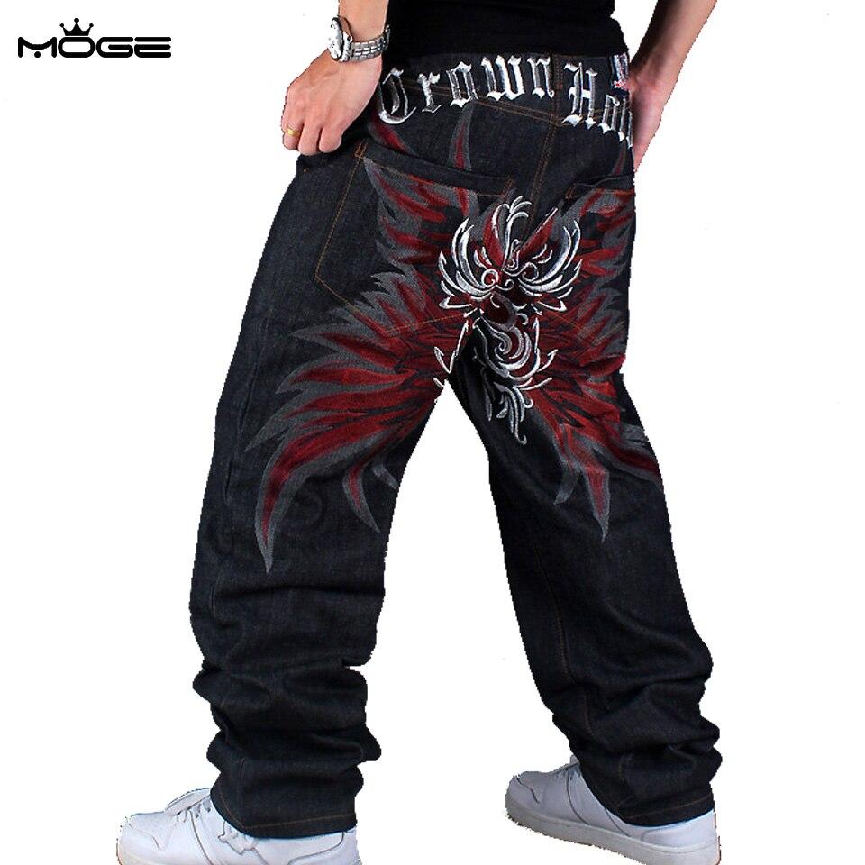 MOGE hommes noir hip hop brodé jeans designer haute qualité planche à  roulettes pantalon grande taille
