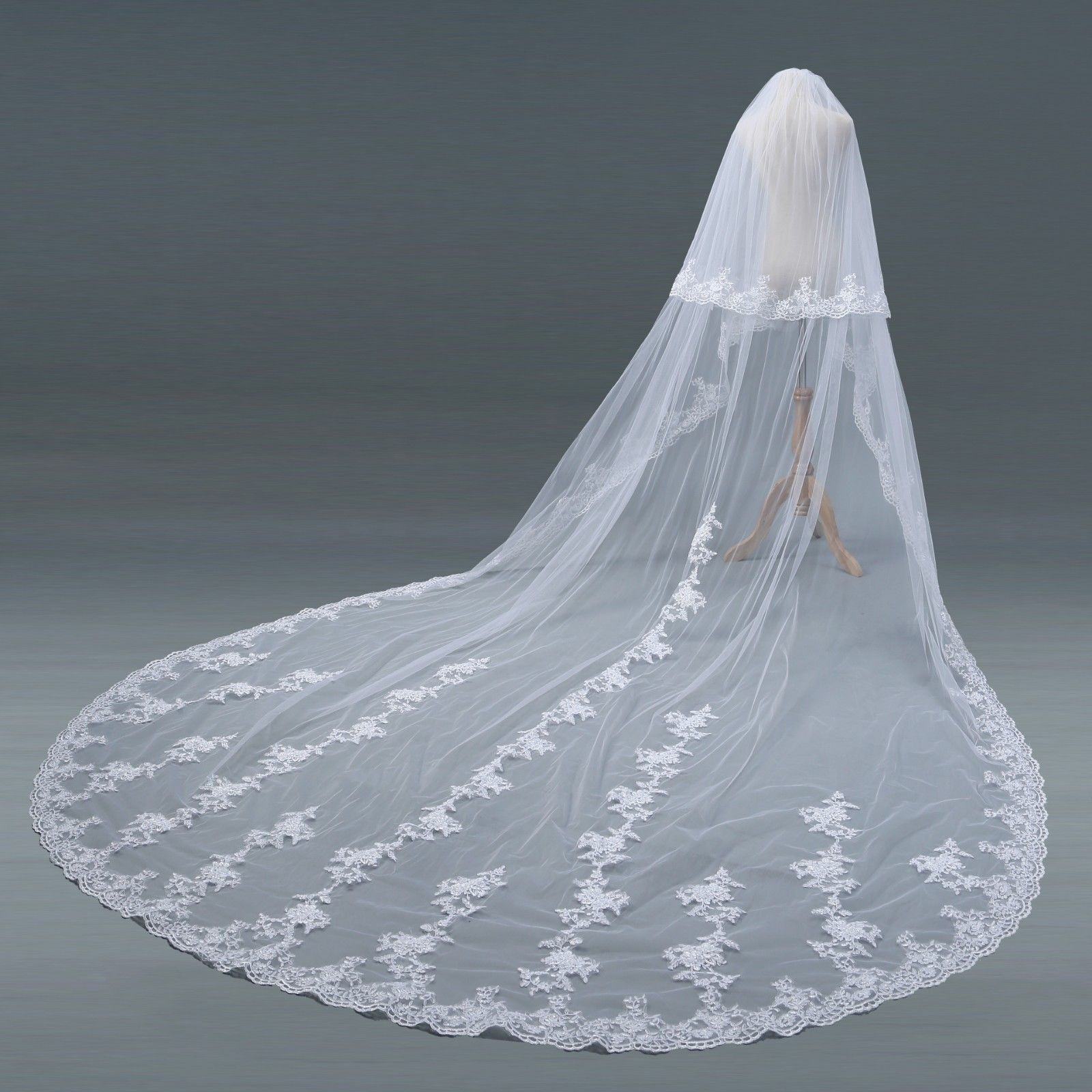 2T Layer Wedding Veils Cathedral Comb Bridal Veils Accessories Veil Cover Face